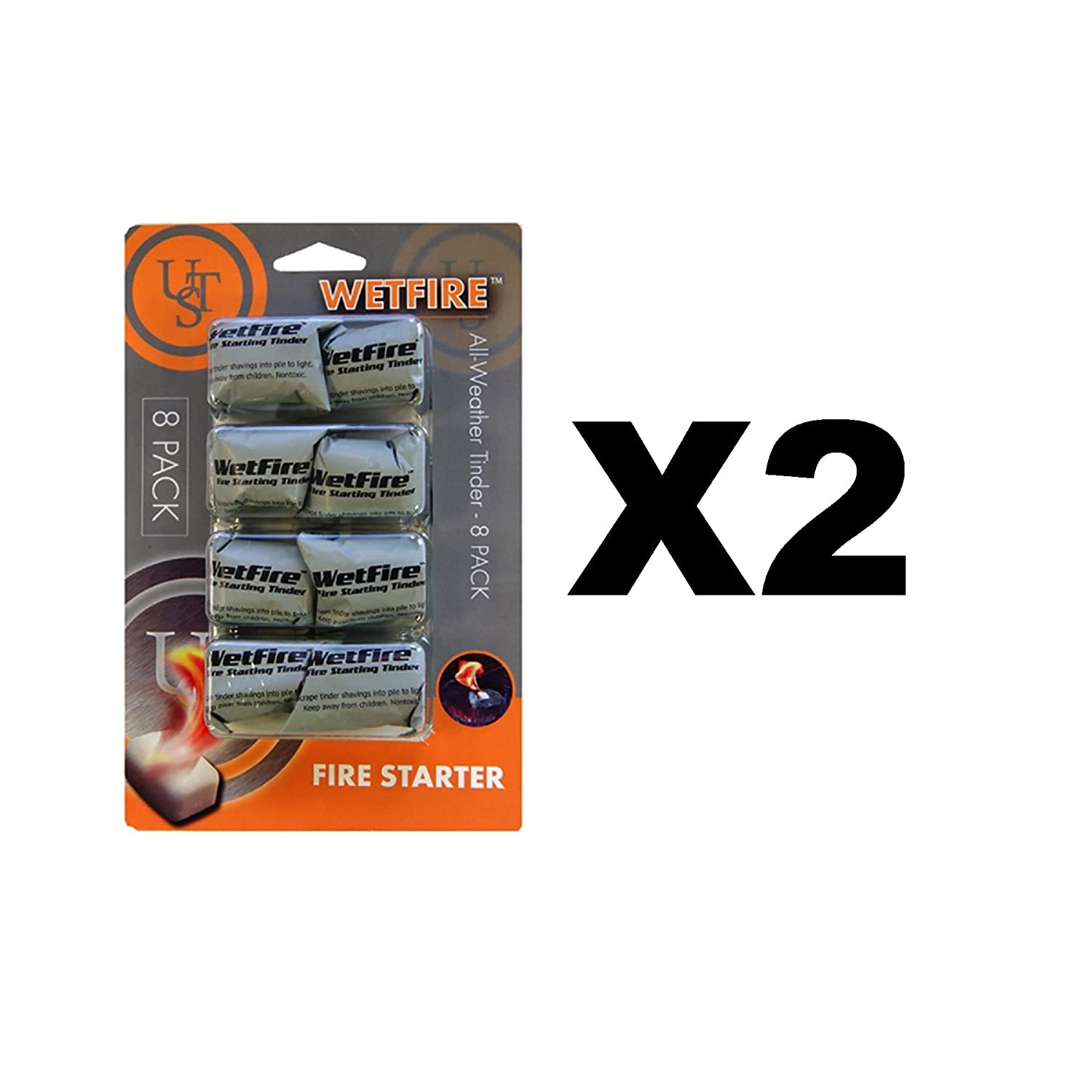 Ultimate Survival Technologies WetFire All-Weather Fire Starter 2-Pack of 8