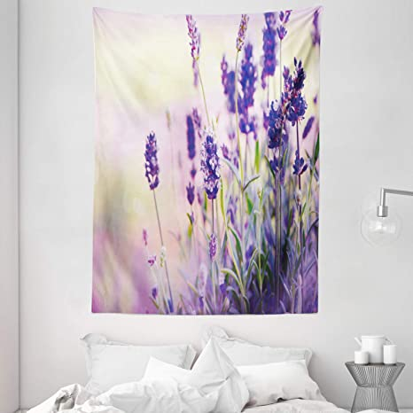 Amazon Com Ambesonne Lavender Tapestry Dreamlike Spring Day With Fresh Blossoms Aromatic Delicate Wild Flowers Wall Hanging For Bedroom Living Room Dorm Decor 60 X 80 Lavender Lilac Green Home Kitchen