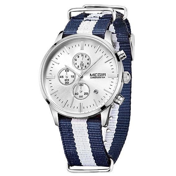 Los relojes de la lona Casual MEGIR genuino de la correa de los hombres del reloj de pulsera de cuarzo del reloj de pulsera Masculino del Relogio: ...