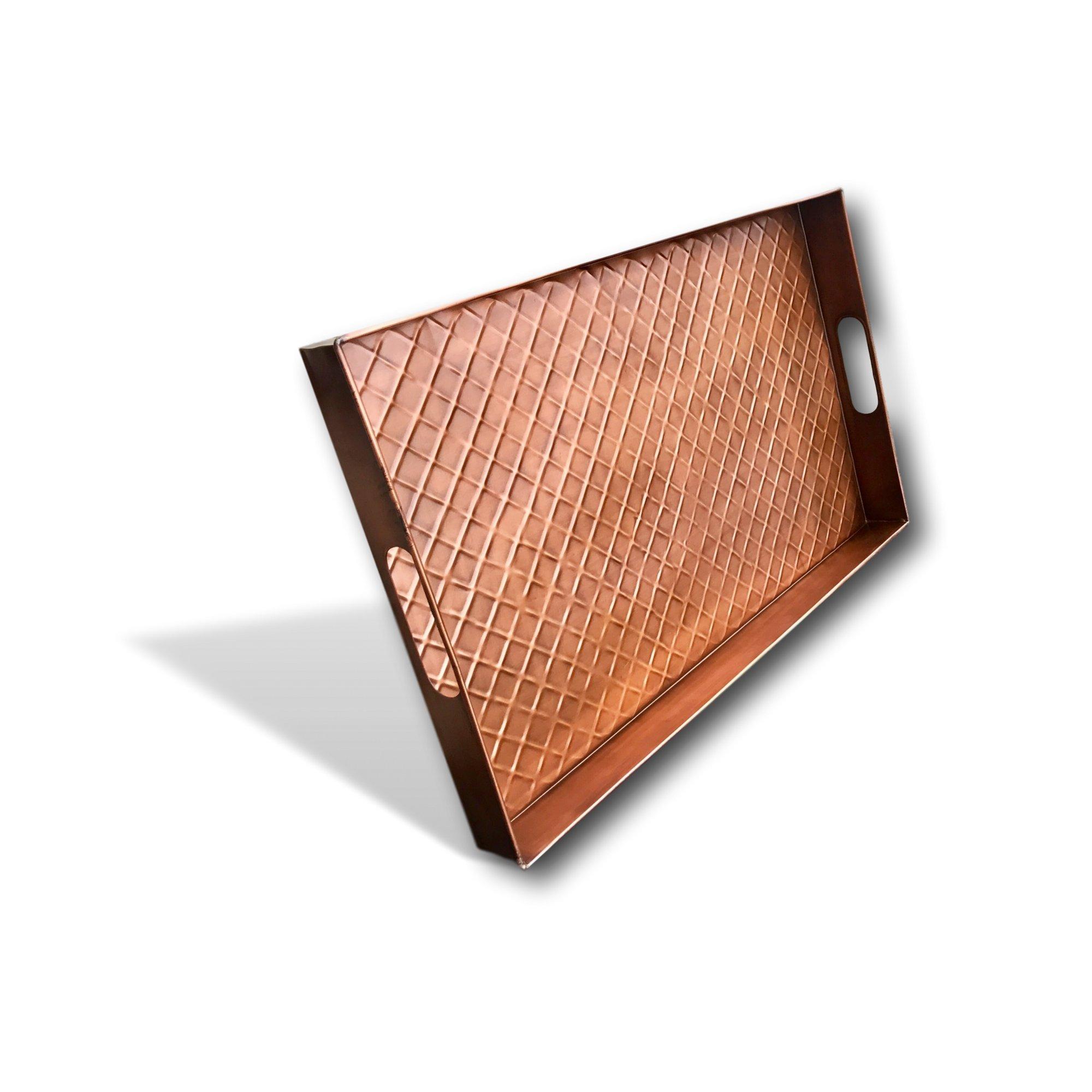 Kauri Multi-Purpose Diamond Large Boot and Shoe Tray | Metal Copper 24'' Boot Tray Design