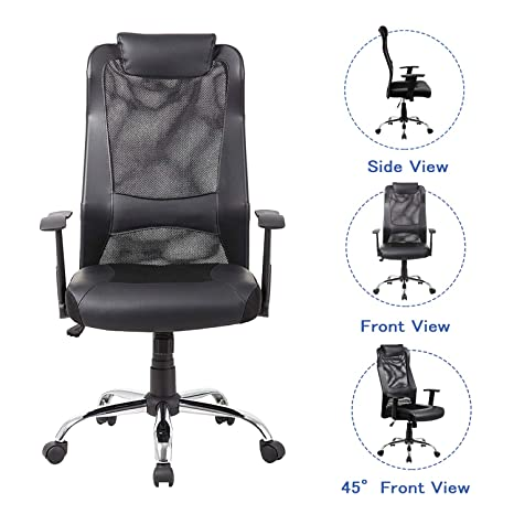 Swell Kadirya Mesh Office Chair High Back Pu Leather Home Computer Desk Chair Executive Ergonomic Swivel Chair Padded Headrest Lumbar Support Adjustable Gmtry Best Dining Table And Chair Ideas Images Gmtryco