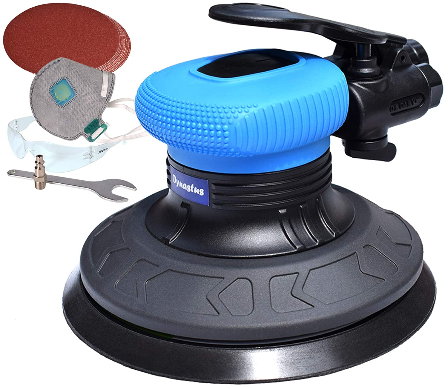 6-Inch Random Orbit Air Palm Sander, Dual Action Pneumatic Polisher with 10pcs Sanding Discs Pad & Protective kits