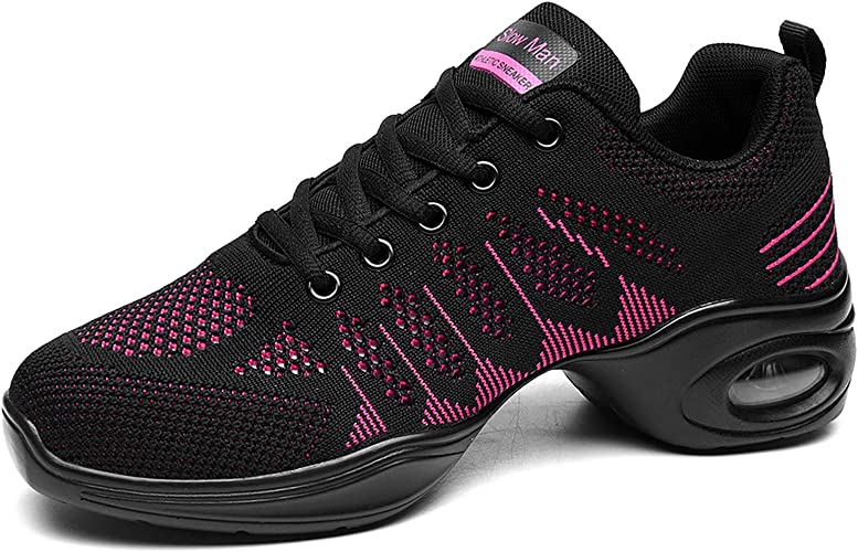 Breathable Air Cushion Lady Split Sole Athletic Walking Dance Shoes Platform pink Size 8 UK Womens Jazz Shoes Lace-up Sneakers
