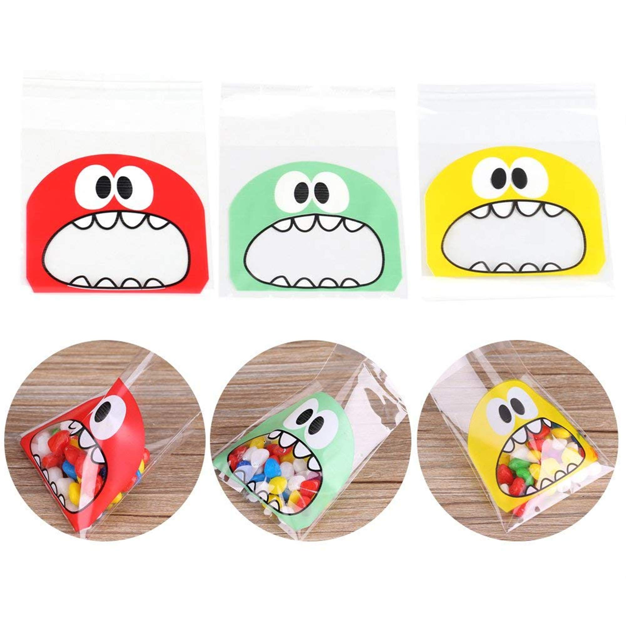 Wootkey Candy Bags 300 pcs 4'' Big Mouth Monster Self Adhesive OPP Cookie Bakery Decorating bags Biscuit Roasting Treat Gift DIY Plastic Bag