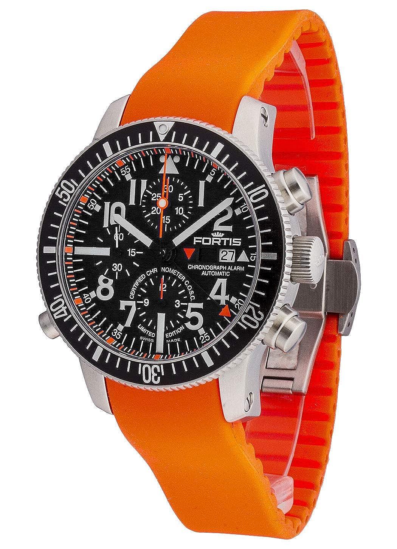 Reloj de Pulsera Fortis B-42 con cronógrafo y Fecha de Alarma, edición Limitada, analógico, automático, 639.10.41 Si.20: Amazon.es: Relojes