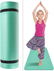 1//2-Inch Extra Thick for Sivan Health and Fitness Kids Exercise Yoga Mat with Carry Strap Black Great for Kid Athletes Tummy Time etc Dancers Gymnasts NBR Comfort Foam Yoga /& Pilates
