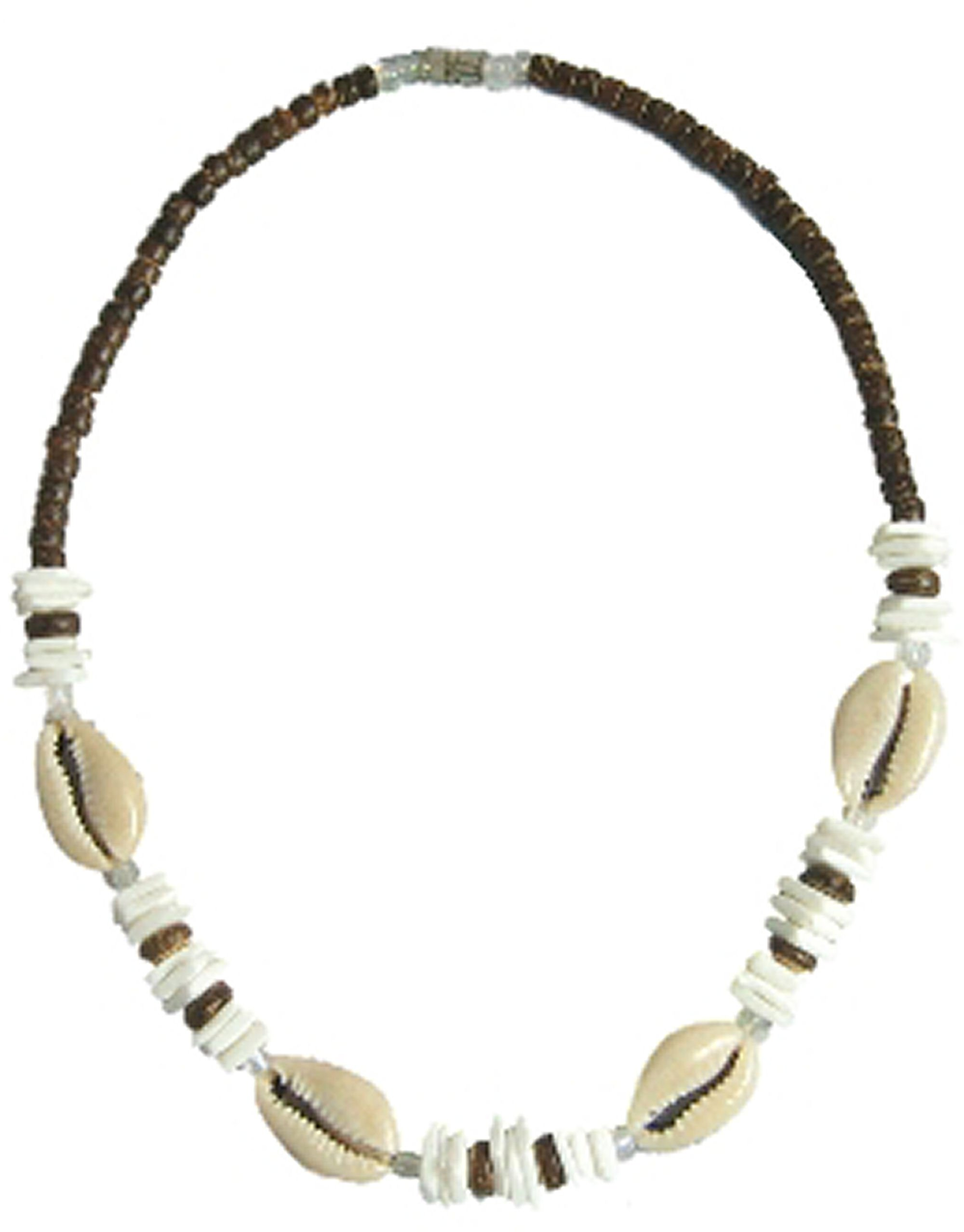 Native Treasure - Cowrie Shell Puka Chips Brown Coco Bead Necklace (18 Inches)