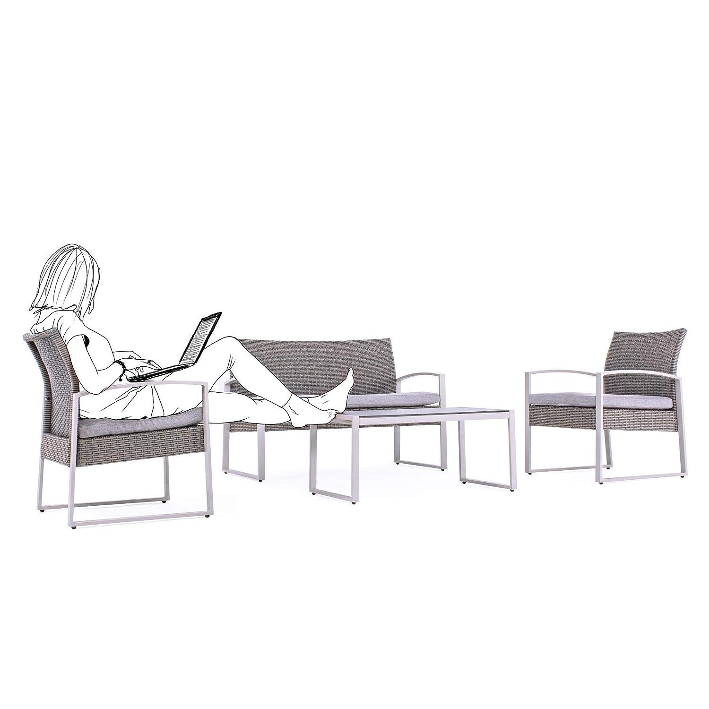ARREDinITALY - Juego de salón para Exteriores, sofá + 2 ...