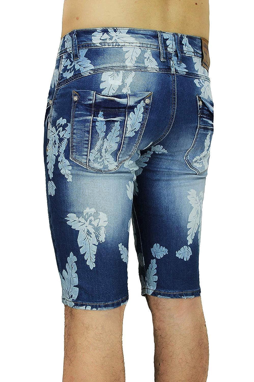 Evoga Jeans Bermuda Uomo Casual Blu Scuro Denim Pantaloncino Shorts Fiori
