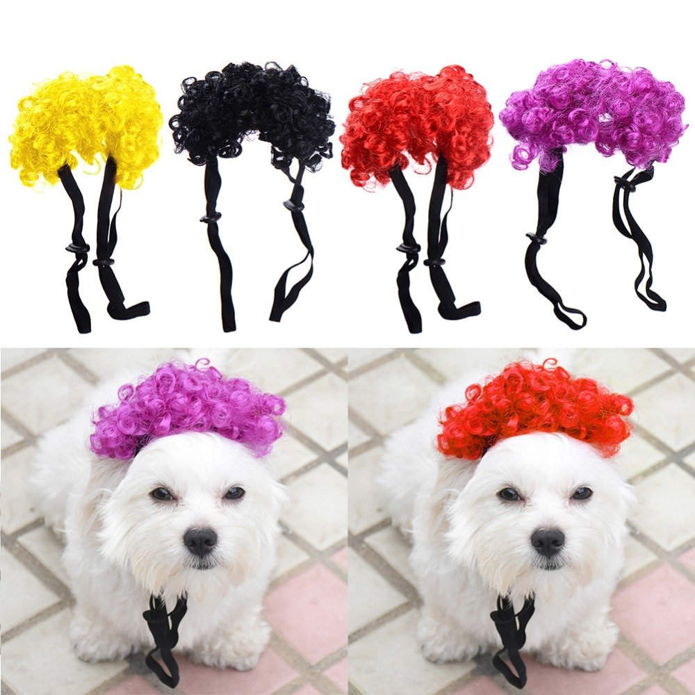 Treading(TM) 4pcs 4 colors Cute Pet Curly Wig for Halloween Festival Dress Up Costume Cosplay Hair for Pets Dog Cat Kitten Pup Puppy Hound