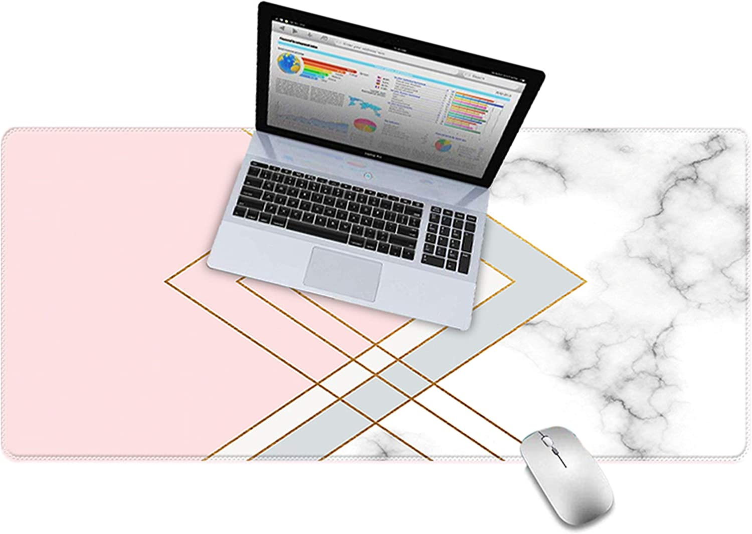 "LuvCase Desk Pad, Office Desk Mat, 31.5"" x 15.7"" PU Leather Desk Blotter, Laptop Desk Mat, Waterproof Desk Writing Pad for Office and Home Decor, Thick Gaming Mouse Pad (Pink White Cloud Marble)"