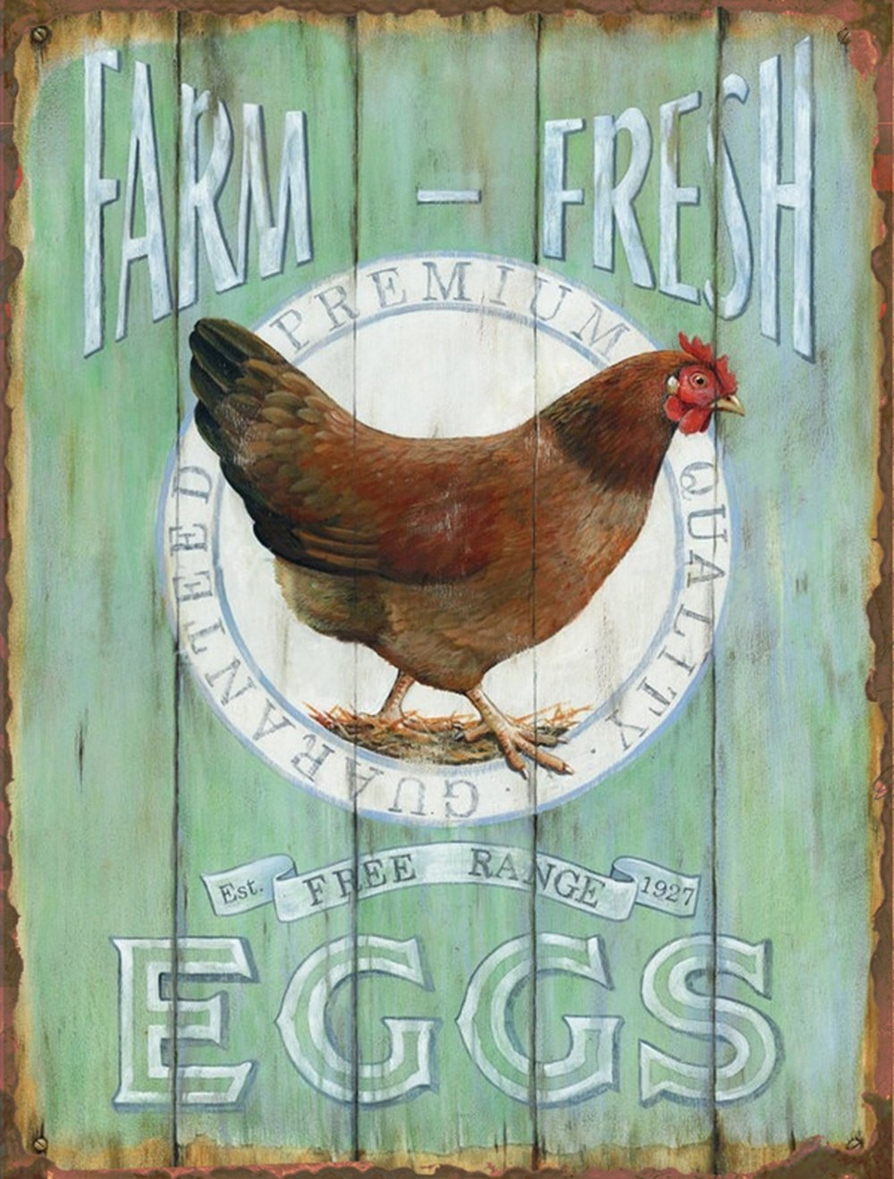 Farm Fresh Free Range Eggs Retro Vintage Tin Bar Sign