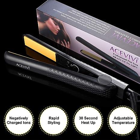 ACEVIVI Cepillo alisador Plancha eléctrico profesional enderezadora con pantalla LCD