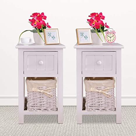 Amazon Com Giantex Nightstand Small With Drawer And Wicker Basket Delicate Storage Organizer For Bedroom Bedside Sofa Wooden Children End Table 2 White Kitchen Dining