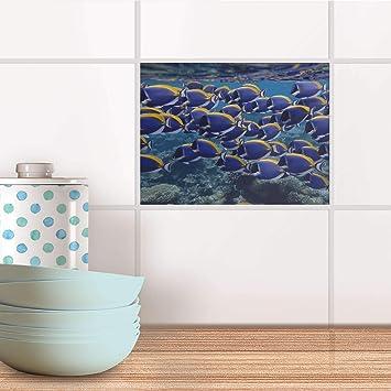 Mosaïque Murale I Auto-adhésif décoratif Carreaux - Revêtement Salle d\'eau  I Motif Fish Swarm I 20x15 cm (1 pièce)