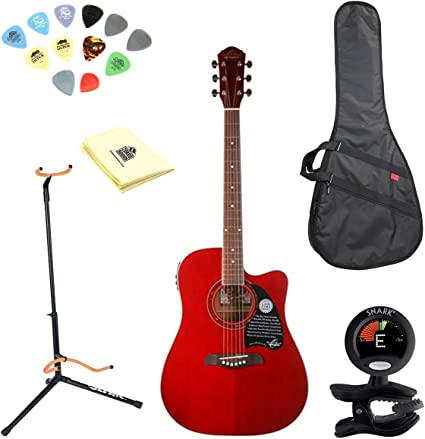 Oscar Schmidt og2cetr Trans rojo púas de guitarra acústica (tipo ...