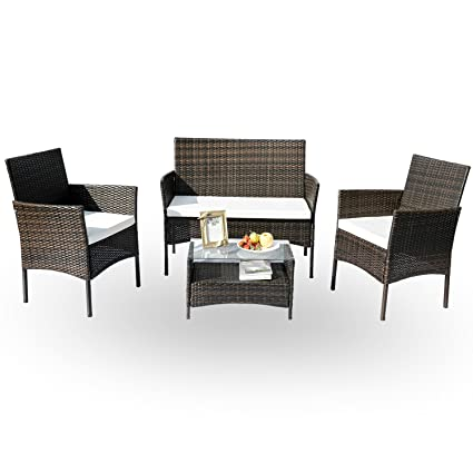 Remarkable Hans 4 Pc Rattan Patio Furniture Set Garden Lawn Sofa Cushioned Seat Wicker Sofa Black Home Interior And Landscaping Ferensignezvosmurscom