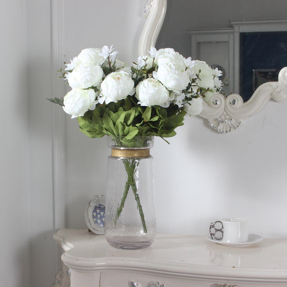 D/écoration de maison Xiuer Pivoines artificielles Bouquet de fleurs artificielles vintage mariage