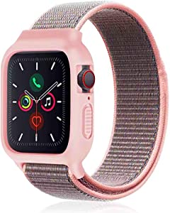 Nylon Sport Band with Case Compatible with Apple Watch Band 44mm 42mm 40mm 38mm, Protective Silicone Bumper Case with Nylon Sport Loop Strap for Series 6/5/4/3/SE for Kids Women Men, Sand Pink