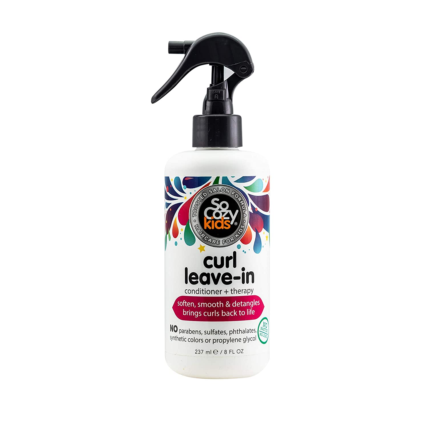 SoCozy Curl Leave-In Conditioner - Detangles and Restores Curls While Infusing Them with Moisture for Shiny, Soft Curls - Sweet Pea Scent, 8 Fluid Ounces