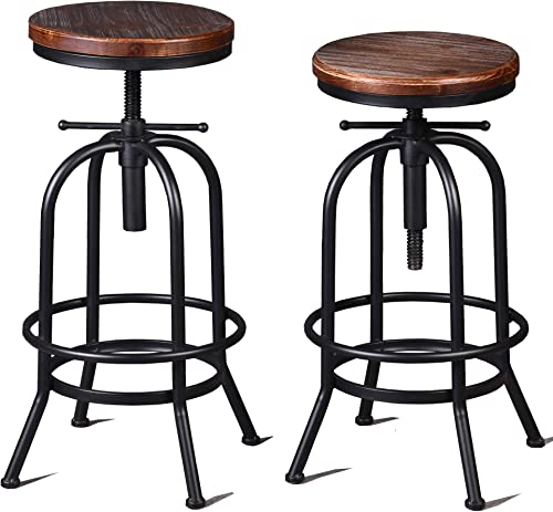 Diwhy Industrial Bar Stool-26-32 Inch Adjustable Swivel Metal Wood Stool Counter Height Bar Stool
