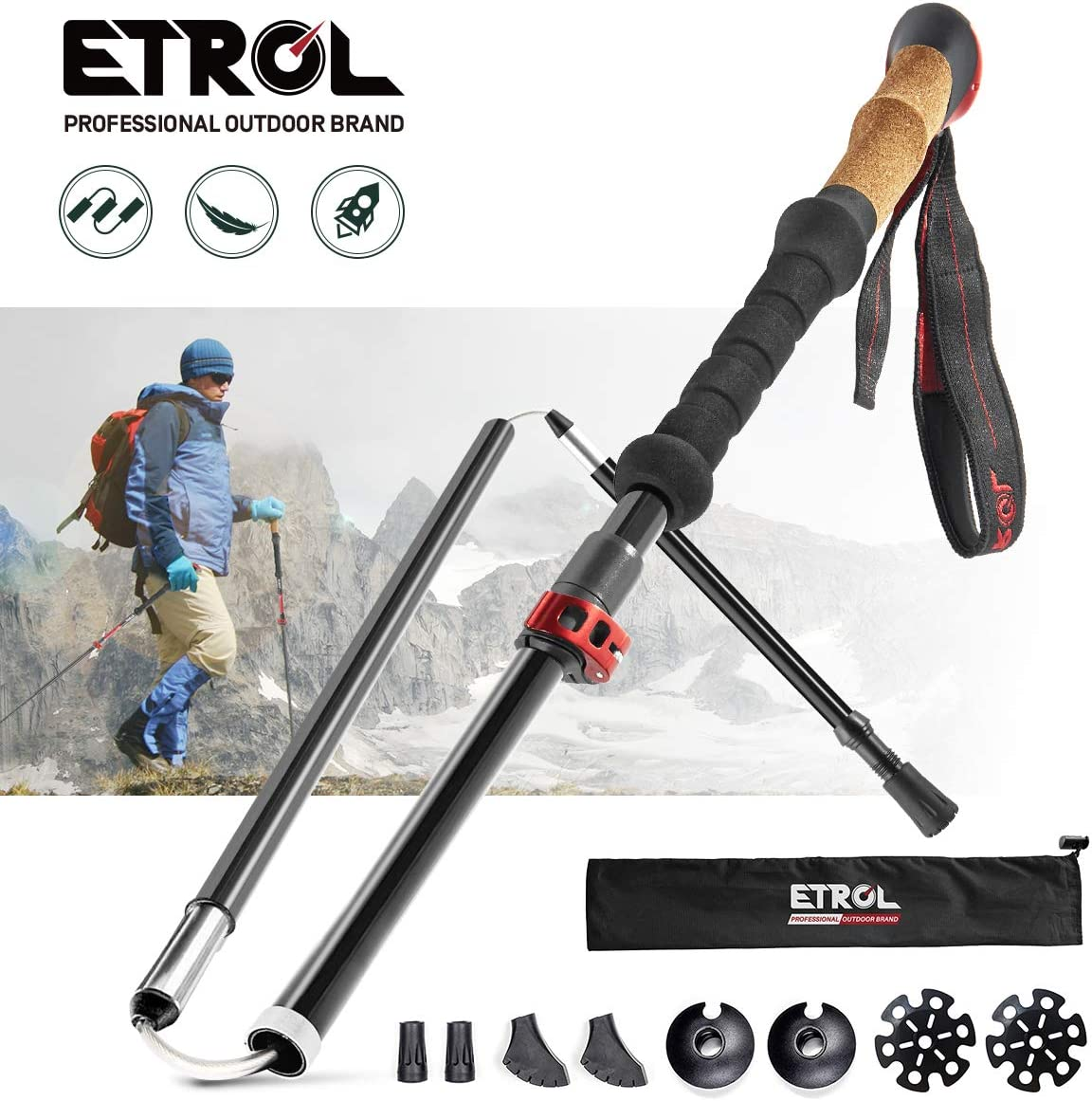 ETROL Trekking Poles-Adjustable Walking Sticks-Collapsible, Quick Lock, Antishock-2pc Pack, Strong, Lightweight Aluminum 7075, Cork Grip, Tips, Padded Strap, Bag Hiking Poles for Men Women