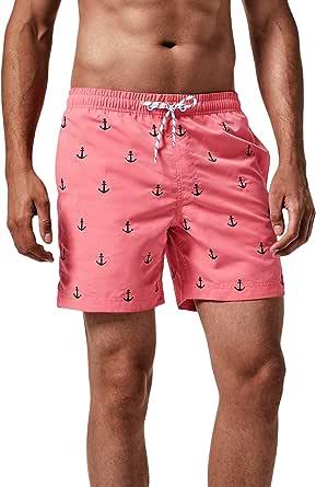 MaaMgic Bañador Hombre Shorts de Baño para Hombre Shorts de Playa Traje de Baño para Natación Secado Rápido para Vacaciones Ancla,Rosa Ancla,M