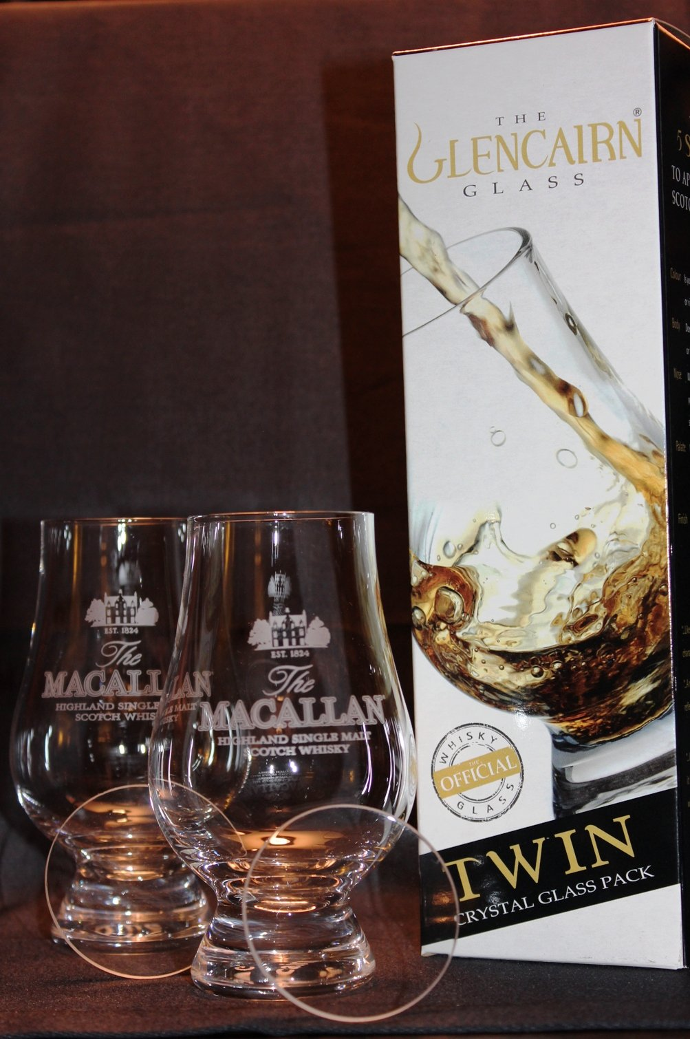MACALLAN TWIN PACK GLENCAIRN SCOTCH MALT WHISKY TASTING GLASSES WITH TWO WATCH GLASS COVERS