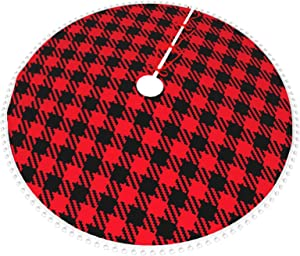 "POUKOEY Red and Black Check Plaid Christmas Tree Skirt, 30"" Double Layers Thick Xmas Tree Skirts Mat with Pom Pom Trim for Home Holiday New Years Party Decoration"