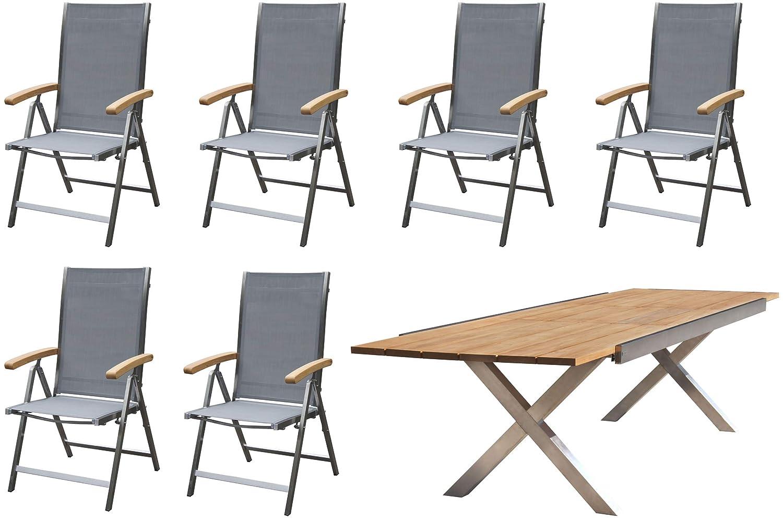 OUTFLEXX Sitzgruppe, Silber, Edelstahl/Teak, Tisch 245/300x100cm, 6 Multipositionssessel