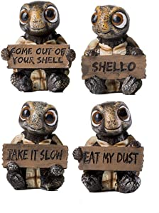HOMERRY 4 Pcs Sea Turtle Figurines Collectibles Set of 4 Turtles Statues Holding Signs with Funny Sayings Baby Tortoises Figurines