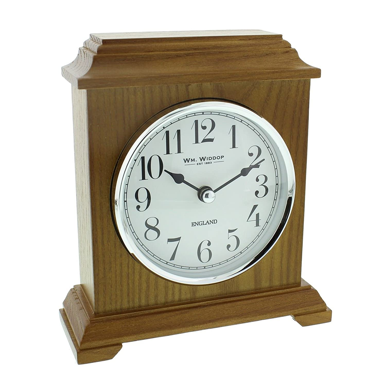 Napoleon Oak Finish Wooden Mantel Clock Carriage Style WBL W2968OAK