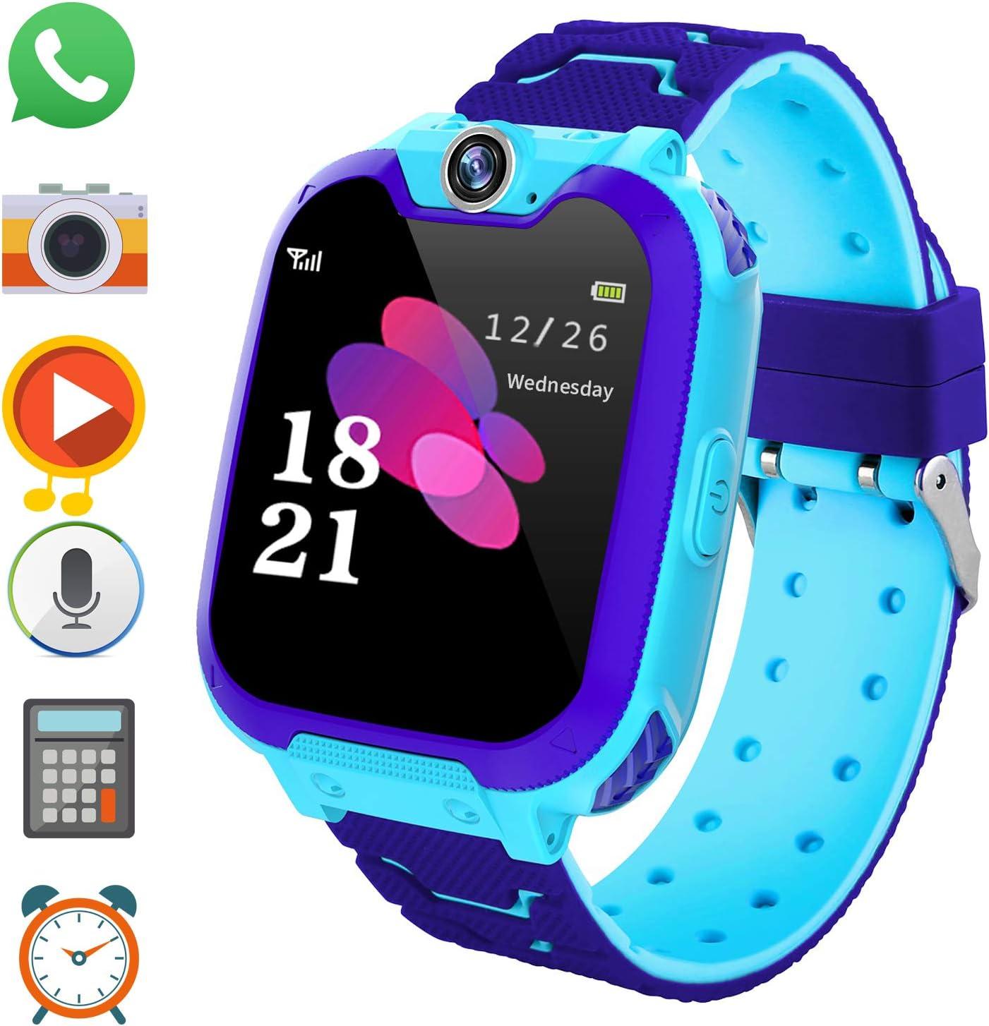 PTHTECHUS Reloj Inteligente para Juegos Infantiles con MP3 Player - [1GB Micro SD Incluido] Llamada de Pantalla táctil de 2 vías Juego de Alarma cámara Reloj Regalo de Juguete de cumpleaños (Azul)