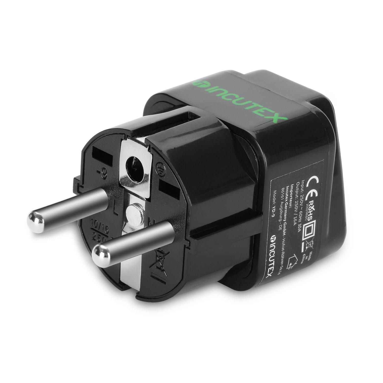 wei/ß Incutex 2X UK zu EU Adapter Reiseadapter UK auf DE Reisestecker UK auf DE Netzadapter UK 3-Pin auf Euro 2-Pin Typ E