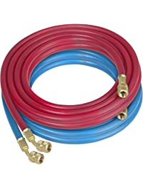 Robinair 68020 Enviro-Guard Red and Blue 20' Hose Set with Standard Fitting