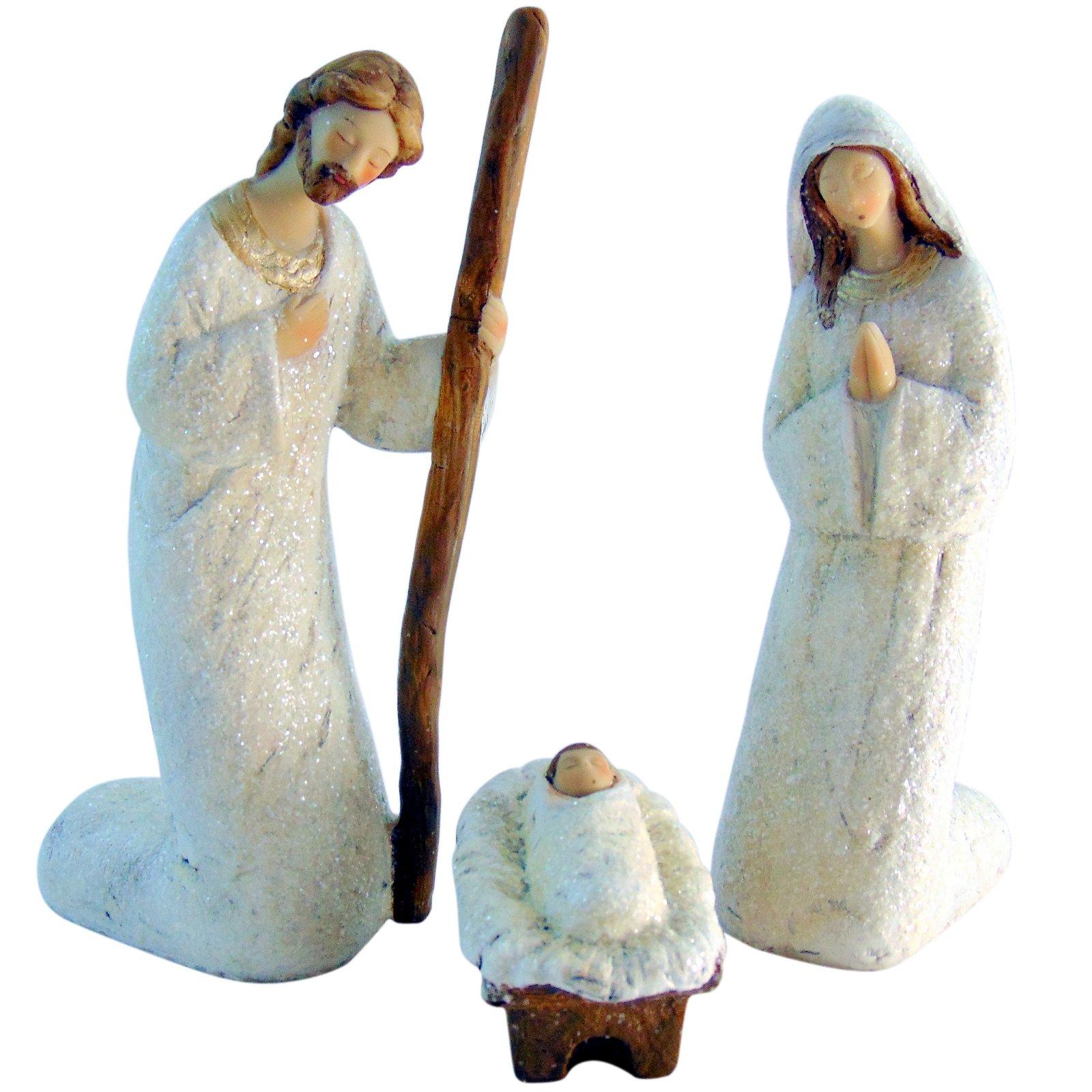 Nativity Set 3 Piece Crib Scene in White Large Advent Christmas Decoration
