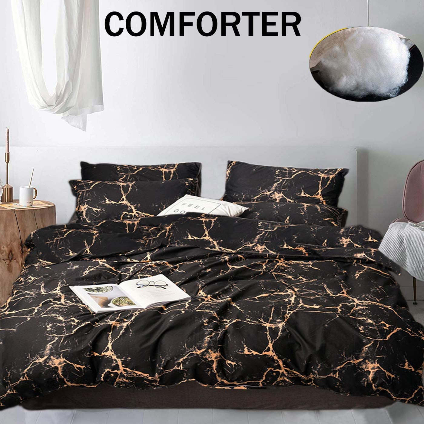 Amazon Com Jumeey Black And Gold Comforter Set Full Gold Marble