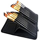 BTSKY 15 Long Art Brush Set Nylon Watercolor Oil Acrylic Artist Paint Brushes Come with Long Handle Pop up Stand