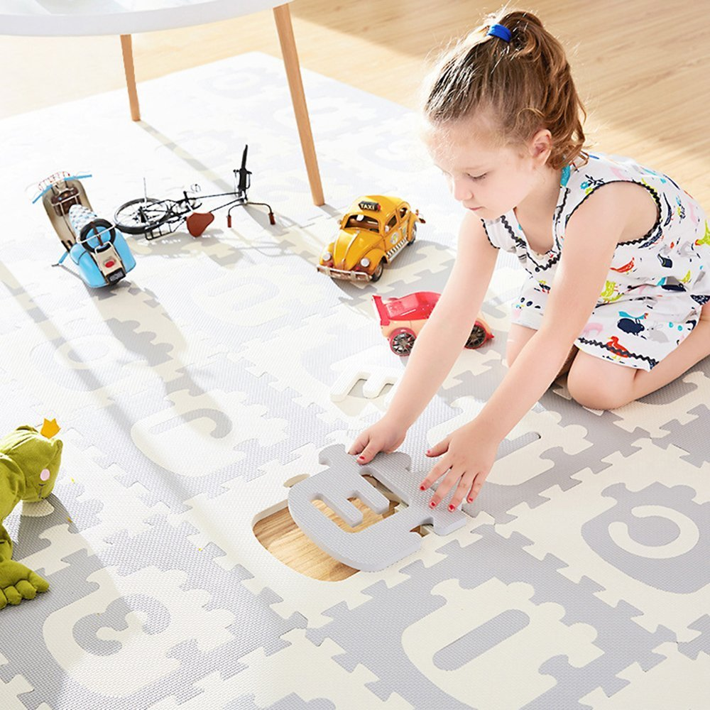 """Little dove Baby Floor Mat Interlocking Play Mats for Infant Tummy Time kids padded play mats Non Toxic Thick Floor Mat White and Grey (70"""" x 70"""")"""
