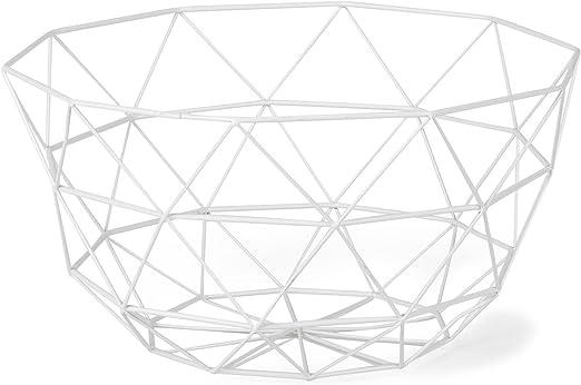 Alinéa Lazio Corbeille Filaire Forme Géométrique Blanc D27cm