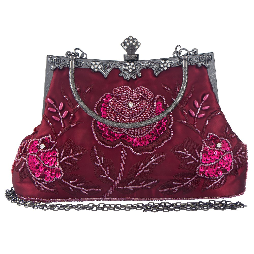 Bagood Women's Vintage Style Roses Beaded And Sequined Evening Bag Wedding Party Handbag Clutch Purse