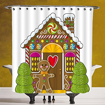 Fun Shower Curtain 30 Gingerbread ManCute House Decorated With Colorful Candies Man