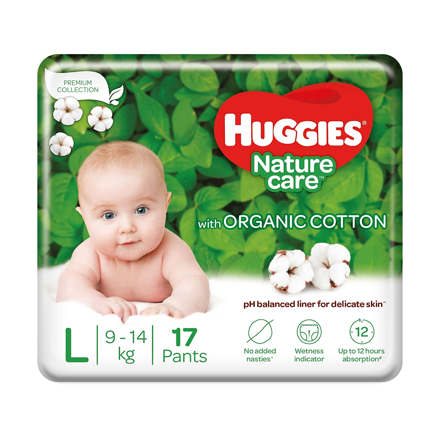 Huggies Nature Care Pants, Large (L) Size Baby Diaper Pants, 17 Count, Nature's gentle protection with organic cotton