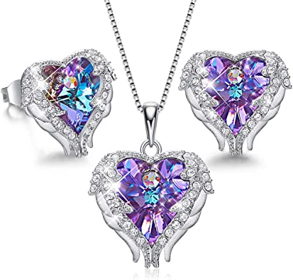 Cristal Amor Corazón Aretes Conjunto De Joyería Colgante Collar para Damas Niñas GIF