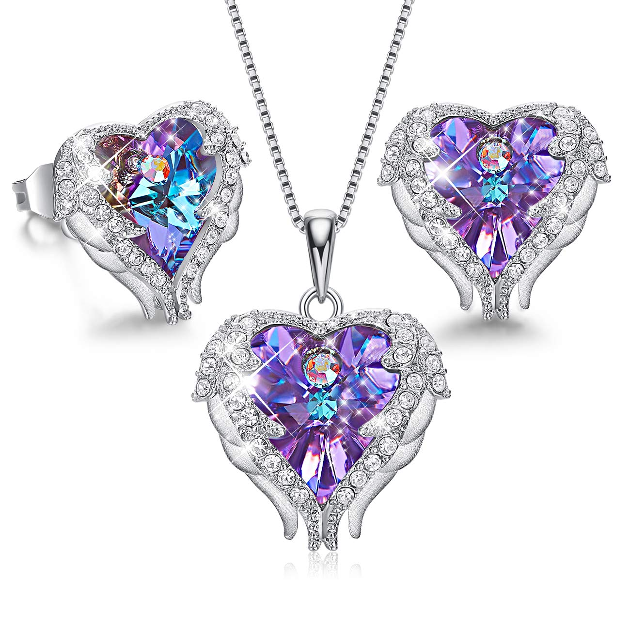 CDE Angel Wing Heart Necklaces and Earrings for Mothers Day Embellished with Crystals from Swarovski 18K White Gold Plated Jewelry Set Women (6_Purple (Sterling Silver))