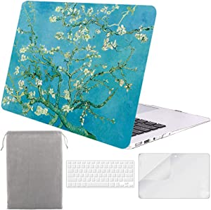 Sykiila for Older MacBook Air 13 Inch Case for 2010-2017 Old Version,Model A1369 / A1466 4 in 1 Hard Shell Case & HD Screen Protector & TPU Keyboard Cover & Sleeve - Almond Tree