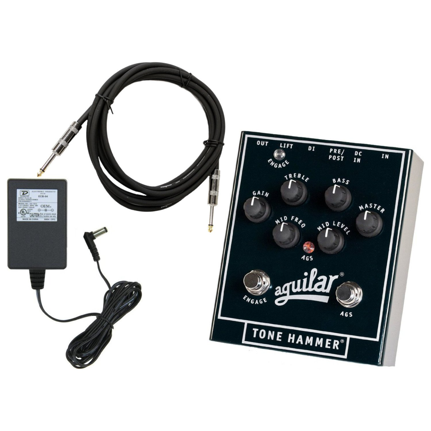 Aguilar Tone Hammer Bass Preamp Direct Box Effect Pedal with Overdrive and 3 Band EQ with 18V Power Adapter and Instrument Cable by Aguilar