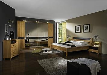 Schlafzimmer mit Bett 180 x 200 cm Kernbuche teilmassiv: Amazon.de ...