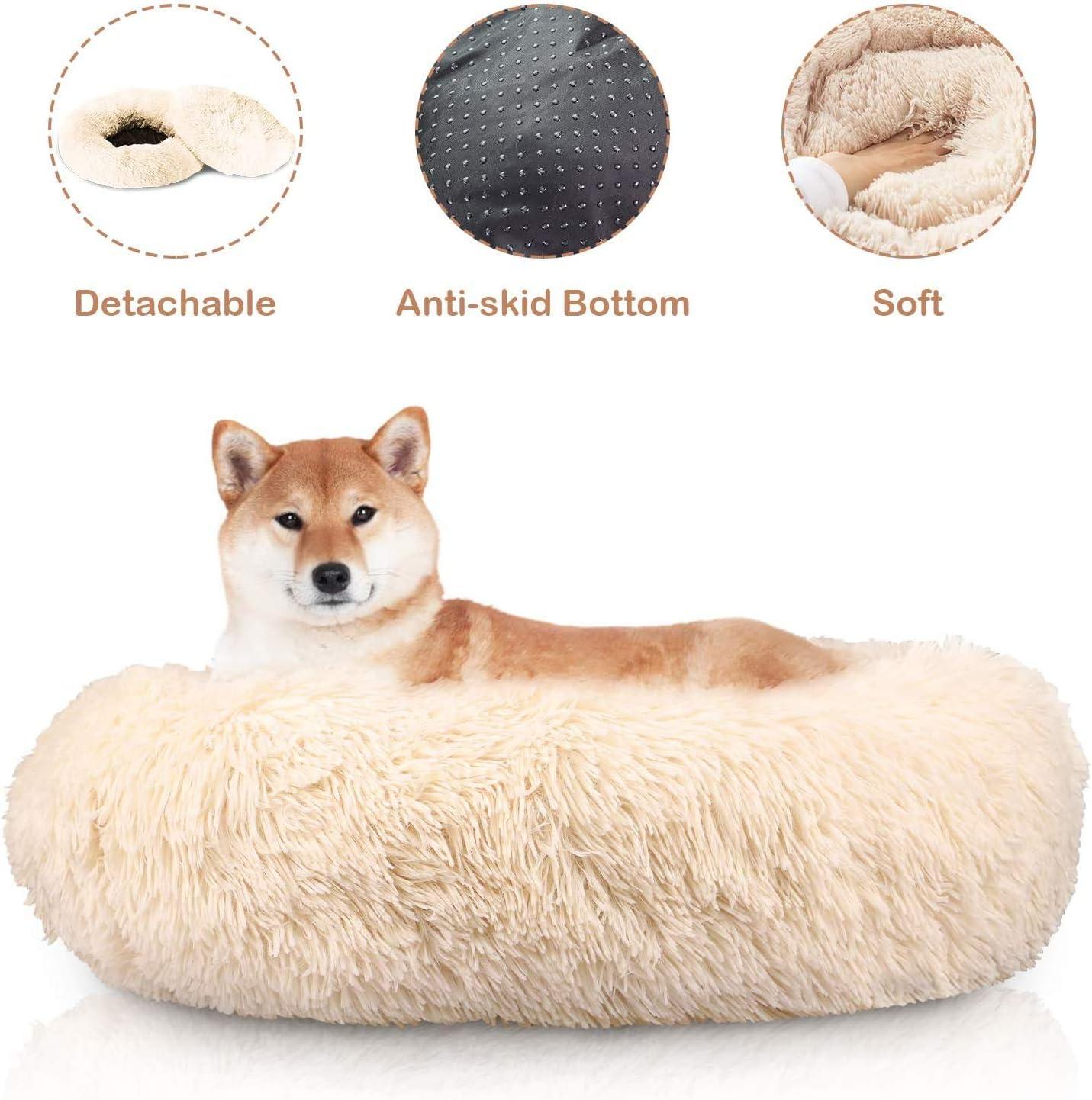 Docatgo Cama para Mascotas, Cama para Gatos Donut para Perros de 60x60 cm, Juguete de Felpa de Piel sintética Pelusa, Cama con cojín para Mascotas para Perros y Gatos de tamaño Mediano