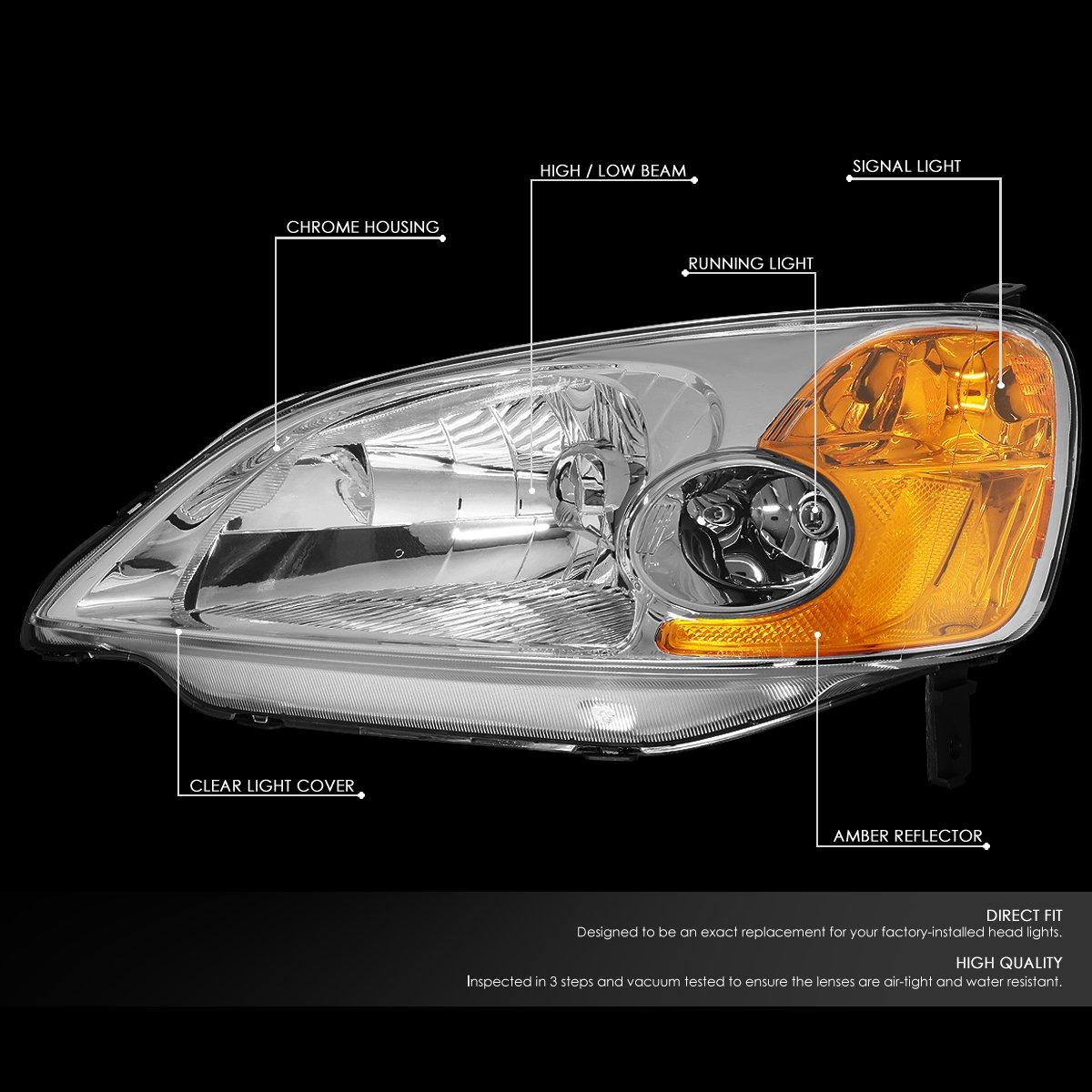 DNA Motoring HLOHHC01SMAM Headlight HL-OH-HC01-SM-AM Driver /& Passenger Side